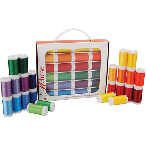 Melrose Trilobal Polyester Embroidery Thread Assortment, 24 Colors