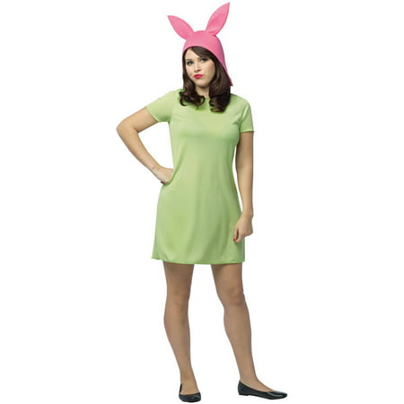 Bob's Burgers: Louise Green Dress Women's Adult Halloween Costume, One Size (Burger King Halloween Outfit)