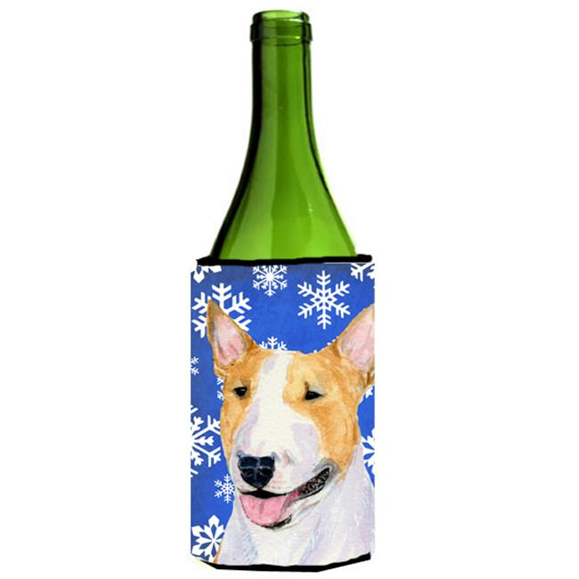Bull Terrier Winter Snowflakes Holiday Wine bottle sleeve Hugger 24 oz. - image 1 de 1