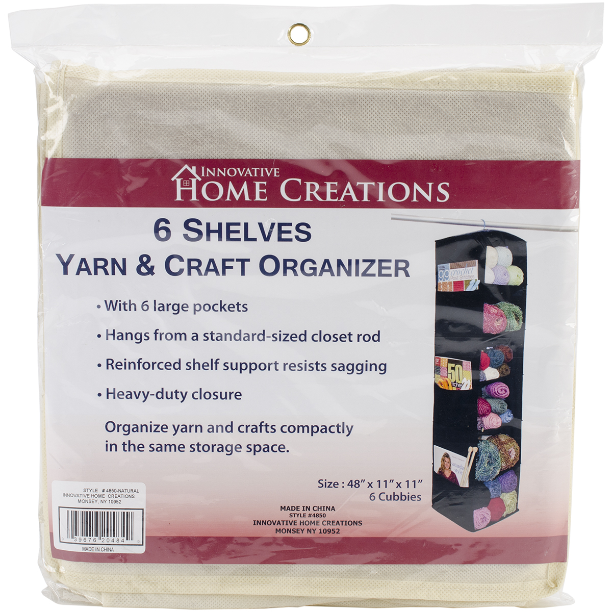 "Innovative Home Creations 6 Shelf Yarn & Craft Organizer Natural 48""X11""X11"""