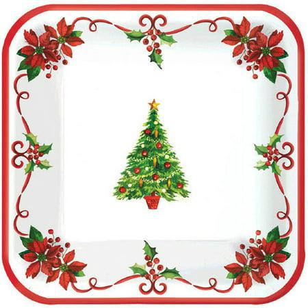 Traditional Christmas Tree 40 Ct Square Plates 7