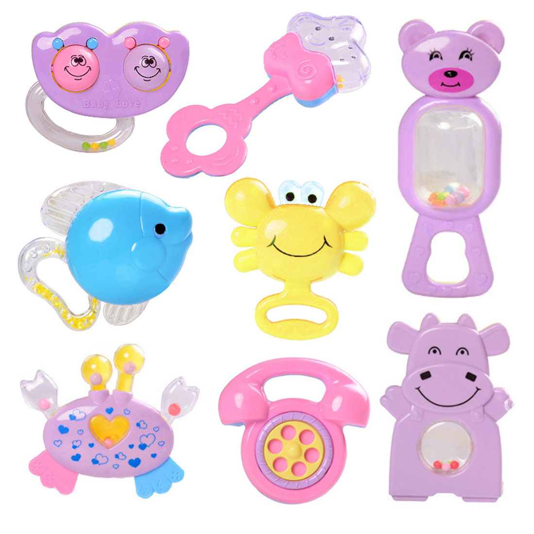 8Pcs Baby Hand Shake Bell Ring Rattles Toy Kids Musical Instrument Toys Random Delivery by