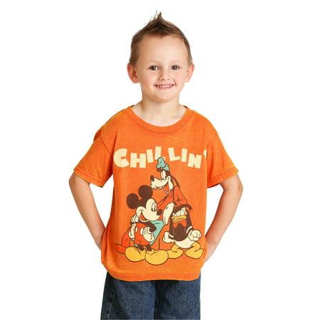 Disney Mickey Mouse Chillin Trio Boys Orange Burnout T-Shirt - Orange Boas