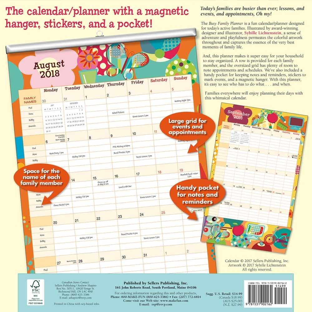 graphic regarding Family Planner Calendar named Chaotic Spouse and children Planner 2018 Wall Planner Calendar