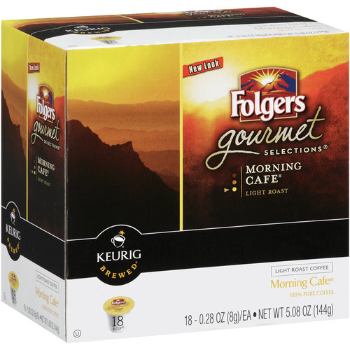 Folgers Gourmet Selections Morning Cafe K-Cup Ground Coffee, 0.28 oz, 18 count