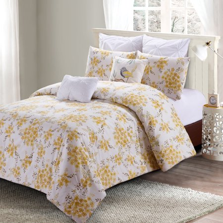 Savanah Floral 7pc Comfoter Set - Yellow Watercolor Savannah Floral Pattern - Machine Washable - Set Includes 1 Comforter + 2 Shams + 2 Euro Shams + 2 Decorative Pillows - King