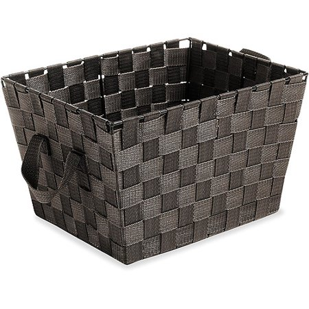 Whitmor Small Woven Storage Tote With Straps  Espresso