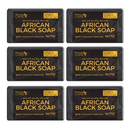 Personal Care African Black Soap. Anti Acne. Clarifies Facial Oil and Blemishes while Moisturizing and Repairing Skin. 4 Oz / 113 g. Pack of 6