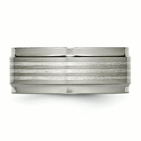 Titanium w/ Argentium .925 Silver Inlay Ridged Edge 9mm Band Size 9.5 - image 1 of 3