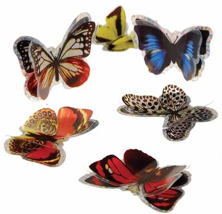 3-D Butterfly Stickers Case Pack 6