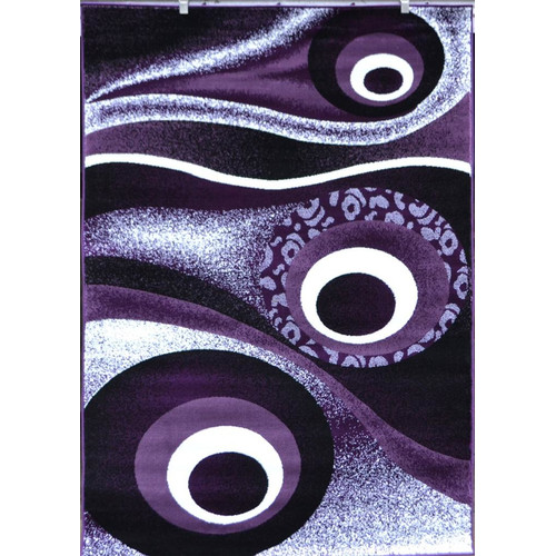 Persian Rugs 1504 Purple Circle Design contemporary area rug