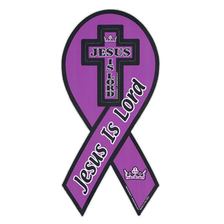 Magnetic Bumper Sticker - Jesus Is Lord - Ribbon Shaped Religious Magnet - 4