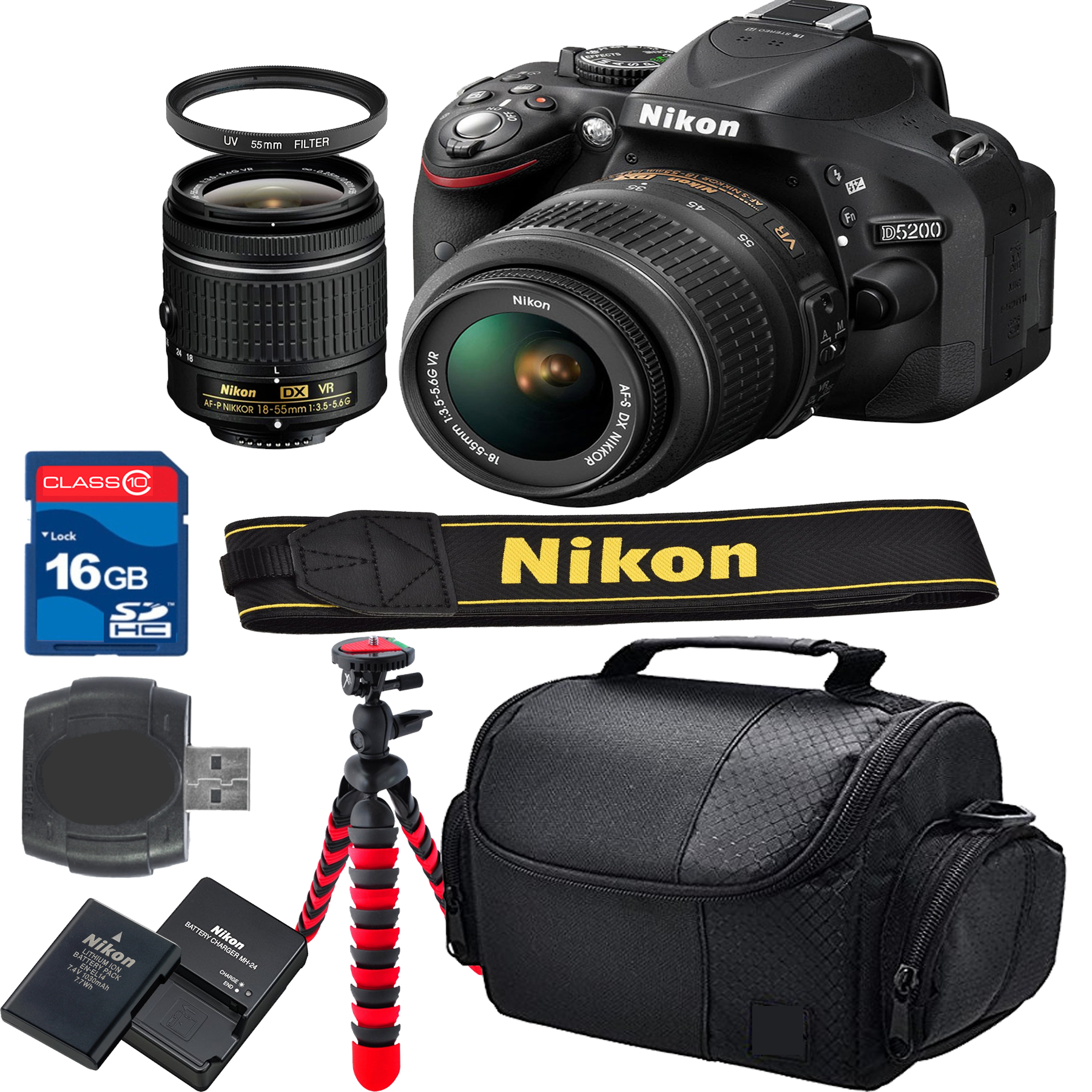 Nikon D5200 Bundle + 18-55mm VR Lens + 16gb High Speed Me...