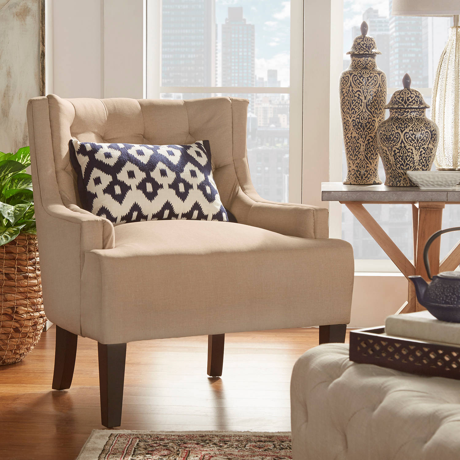 Weston Home St. Lucia Living Room Linen Tufted Accent Chair, Multiple Colors