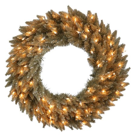 Vickerman Antique Champagne Pre-Lit Wreath - Clear Lights