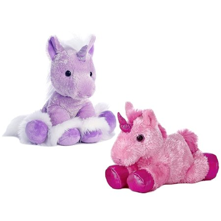 Super Soft Plush and Stuffed Animals Aurora World Dreaming of You Purple Unicorn Plush and Aurora Pink Mini Flopsie Unicorn Super Soft Plush