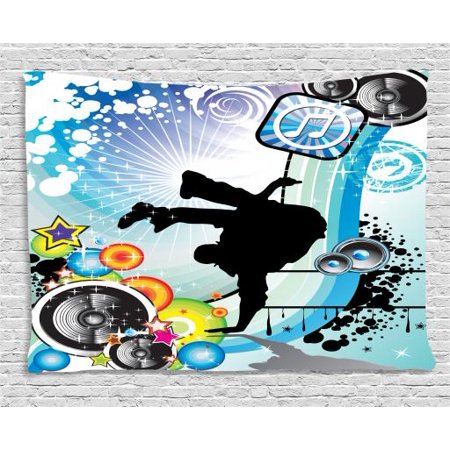 Urban Graffiti Tapestry, Silhouette of Break Dance Performer Loudspeakers  Concentric Stars Icons Dots, Wall Hanging for Bedroom Living Room Dorm