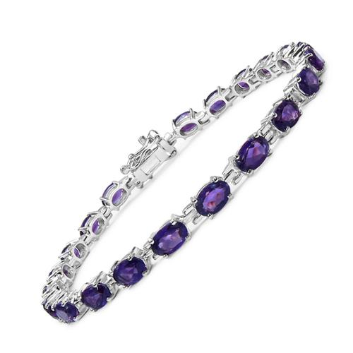 Olivia Leone Sterling Silver 9ct Amethyst Bracelet by Overstock