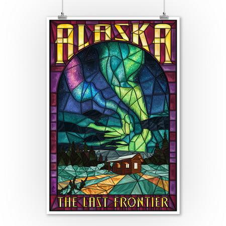 Alaska - Cabin & Northern Lights Stained Glass - Lantern Press Artwork (9x12 Art Print, Wall Decor Travel
