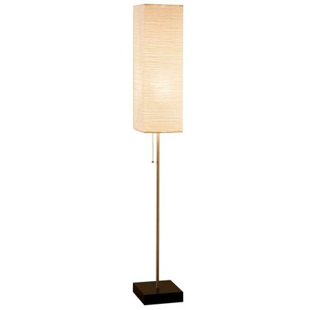 60 In. Brushed Nickel Floor Lamp with Paper Shade and Decorative Faux Wood Base, Brushed nickel finish By Alsy Base Floor Lamp
