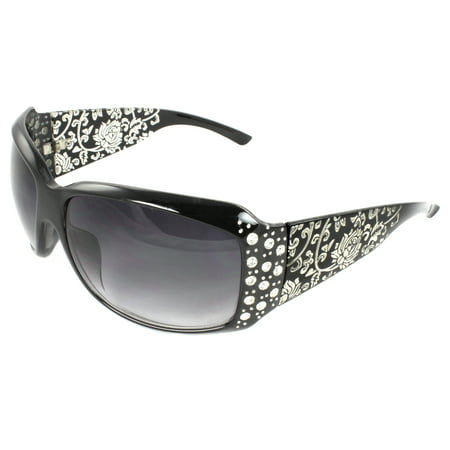 Fashion Sunglasses Black Frame in Floral Pattern Design Purple Black Lenses for (Clubround Sunglasses)