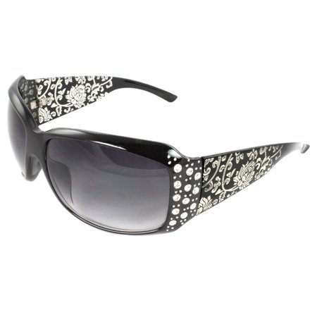 Brown Gray Lens Sunglasses (Fashion Sunglasses Black Frame in Floral Pattern Design Purple Black Lenses for Women)