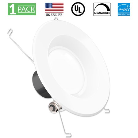 Sunco Lighting 1 Pack 5 / 6 Inch Smooth Recessed Retrofit Kit LED Light Fixture, 13W (75W Replacement), 2700K Kelvin Soft White, 830 Lumen, Dimmable, Quick/Easy Can Install, Wet Area Current Light Fixtures Replacement