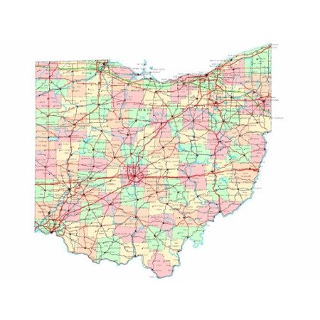 Laminated Poster Ohio State Road Map Glossy Poster City County Columbus Oh Poster Print 24 x