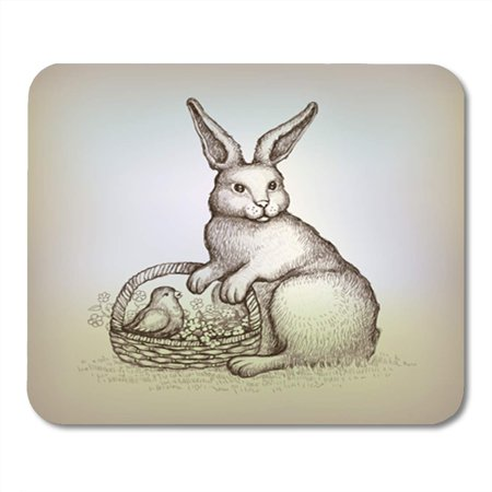 KDAGR Hare Easter Vintage Card Illustration of Bunny Rabbit Drawing Antique Mousepad Mouse Pad Mouse Mat 9x10
