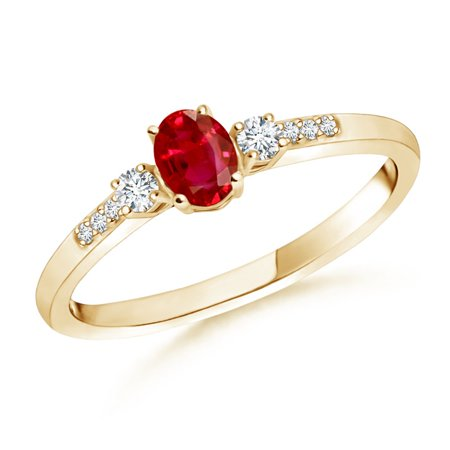July Birthstone Ring - Classic Oval Ruby and Round Diamond Three Stone Ring in 14K Yellow Gold (5x3mm Ruby) - SR0267R-YG-AAA-5x3-6.5 3 Stone Ruby Diamond