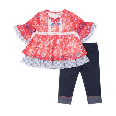 Floral Chiffon Disco Dot and Knit Denim Capri Legging, 2-Piece Outfit Set (Little Girls)