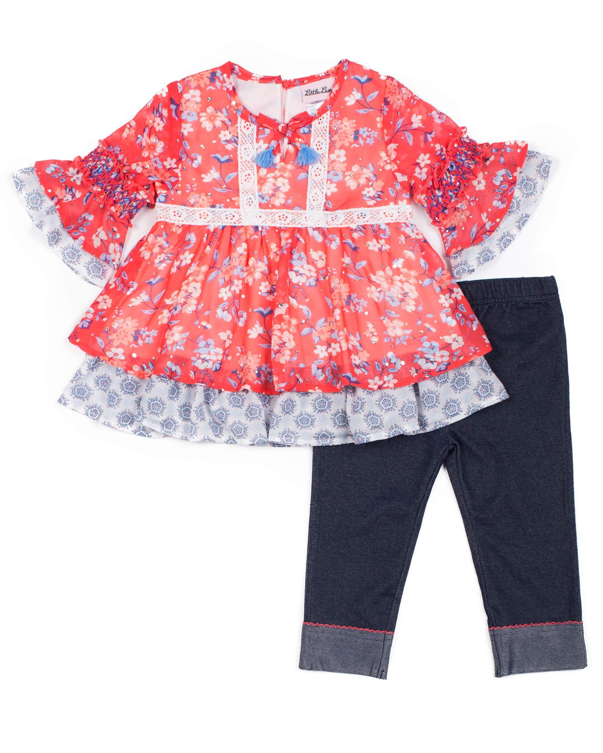 Floral Chiffon Disco Dot and Knit Denim Capri Legging, 2-Piece Outfit Set (Little Girls)