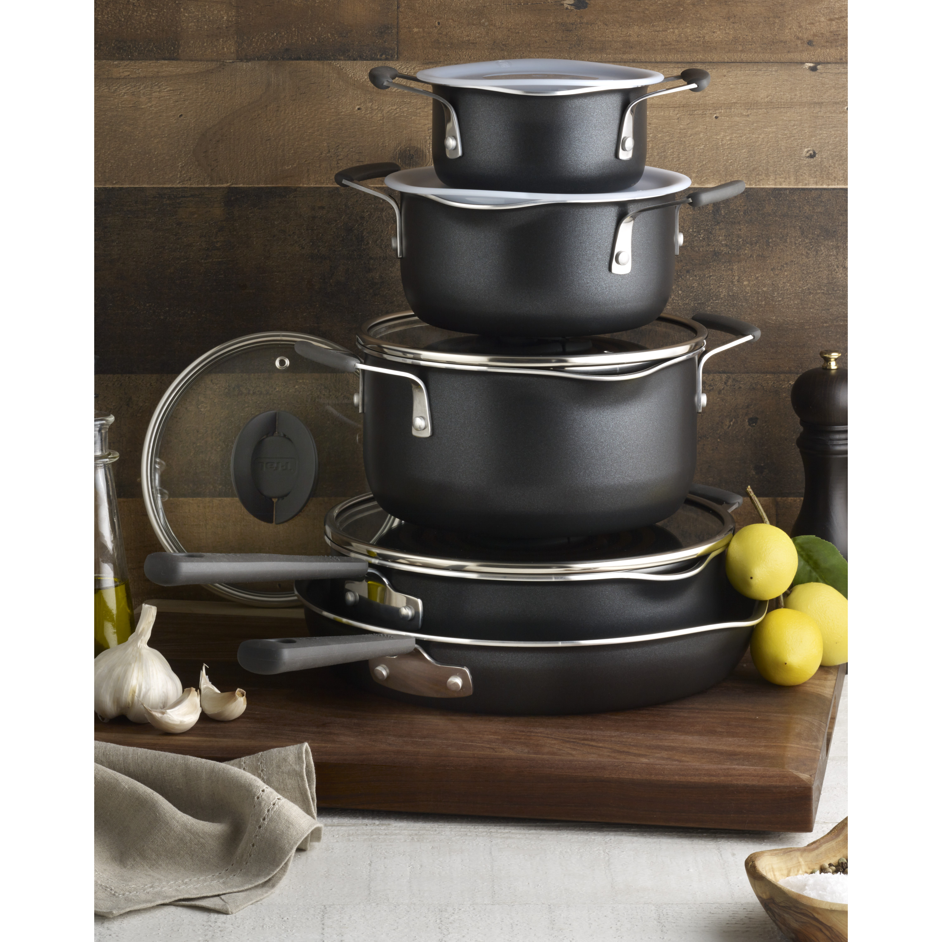 T-fal Stackables Titanium Non-Stick Multipurpose Space Saving Black Nesting Cookware Set, 10 Piece