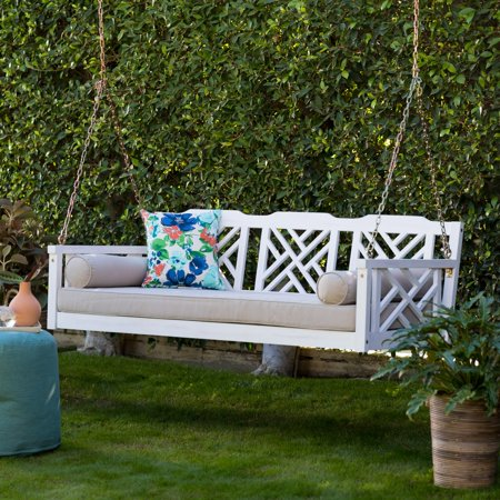 Belham Living Chippendale Deep Seating White Washed Porch Swing Bed with Cushion ()