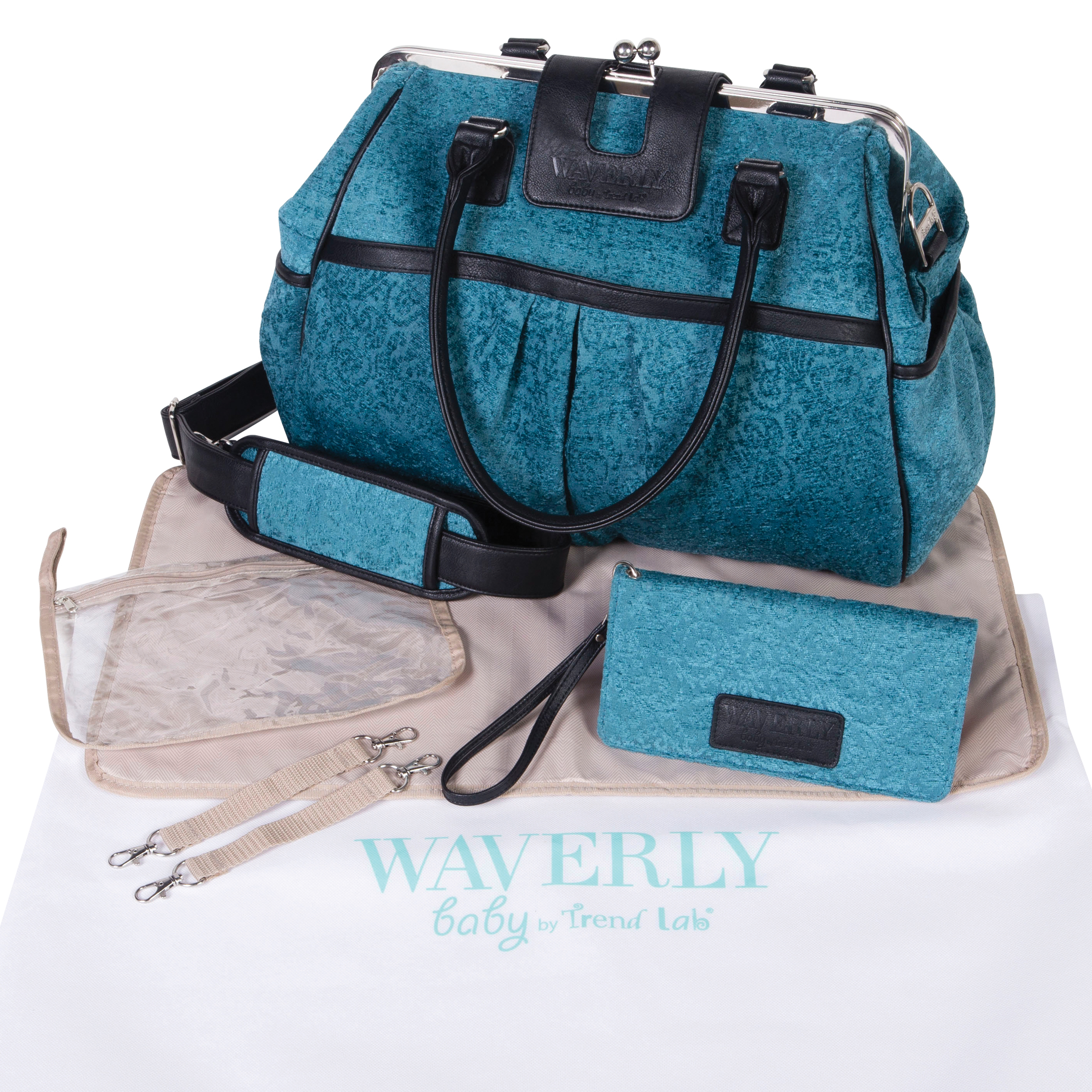 Waverly Strands Sterling Framed Diaper Bag by Waverly