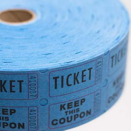 Blue Double Roll Raffle Tickets, 2000/roll