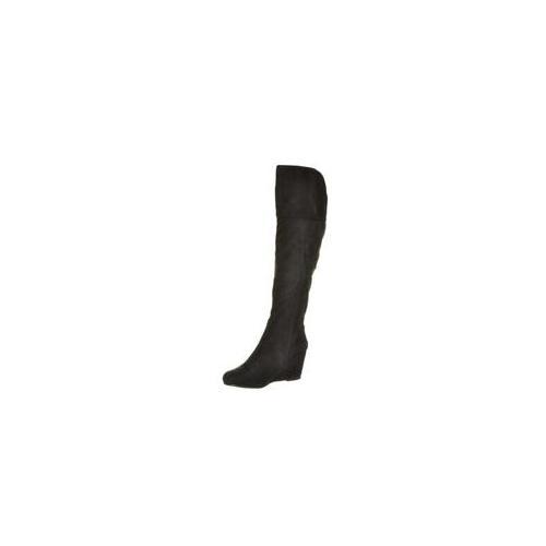BellaVi 11S14BLKZ7 Irma Suede Knee High Buckled Wedge Boot Size - 7, Color - Black