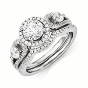 Sterling Silver & CZ Rhodium 2-piece Wedding Set