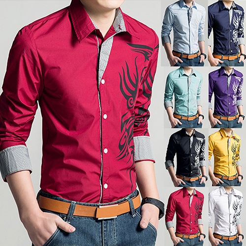 (Asian Size)Sanwood Men Fashion Slim Fit Dragon Design Printing Shirts Long Sleeve Patchwork Top