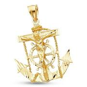 Jesus Cross Mariner Charm Solid 14k Yellow Gold Anchor Crucifix Pendant Design Mens 35 x 32 mm