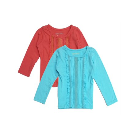 Sprockets Baby Girls Blue Coral Pleated Long Sleeved 2 Pc Blouse Set