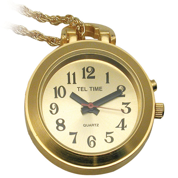 Tel-Time Talking Pendant Ladies Watch - Gold-Tone w-Chain - 1 Button