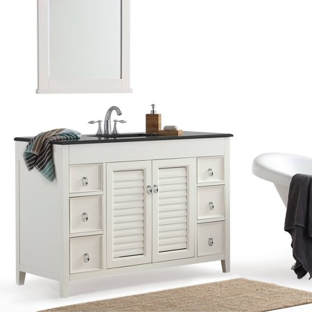"Simpli Home Adele 48"" Bath Vanity with Black Granite Top"