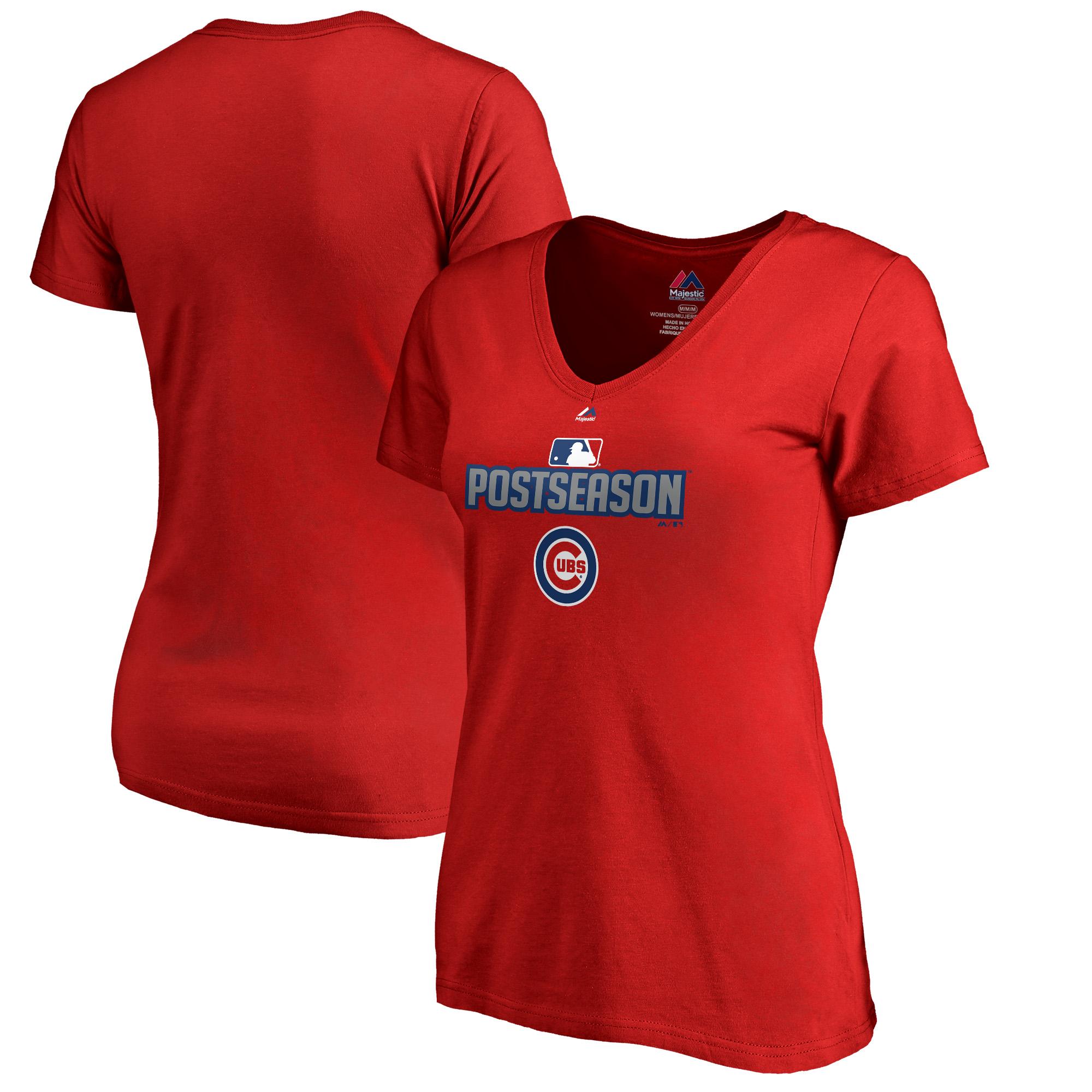 Chicago Cubs Majestic Women's 2018 Postseason Deck V-Neck T-Shirt - Red