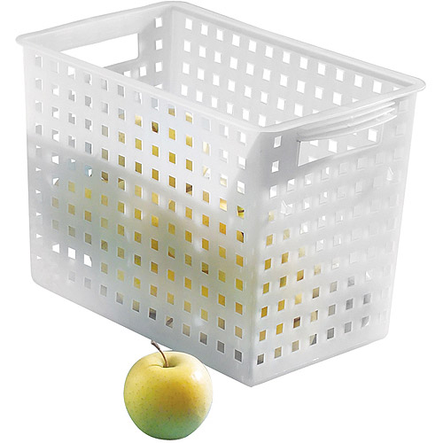 "InterDesign Modulon Household Storage Basket for Office, Garage, Bathroom and more, 13.88"" x 8.63"" x 8.5"", Frost"