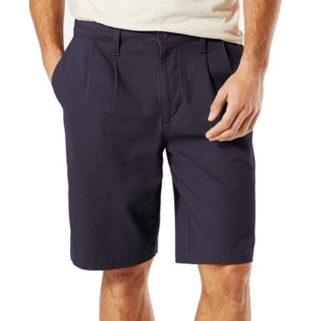 Dockers NEW Navy Blue Mens Size 44 Khakis Pleat Front Stretch Shorts