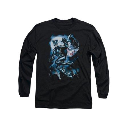 Batman DC Comics Moonlight Catwoman Adult Long Sleeve T-Shirt - Batman And Catwoman Couple Shirts
