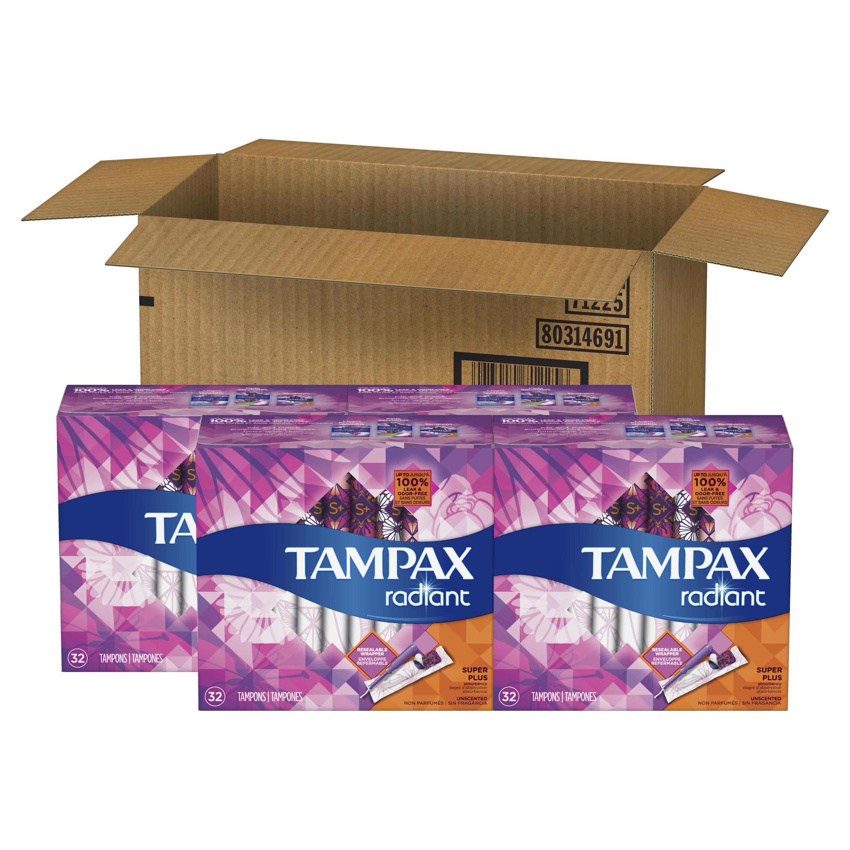 Tampax Radiant Super Plus Plastic Tampons, Unscented, 128 Count