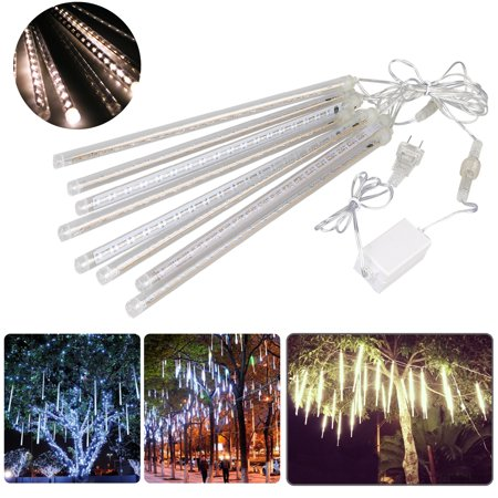 LED Meteor Shower Lights 12 Inch 8 Tube 144 Leds Falling Rain Drop Icicle Snow Fall String LED Waterproof Lights for Holiday Xmas Tree Valentine Wedding Party Decoration (Valentines Day Decorations)