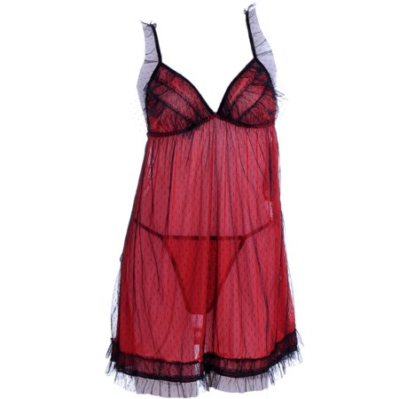 S/M Fit Black and Red Lady Bug Inspired Swiss Dot Pattern Negligee